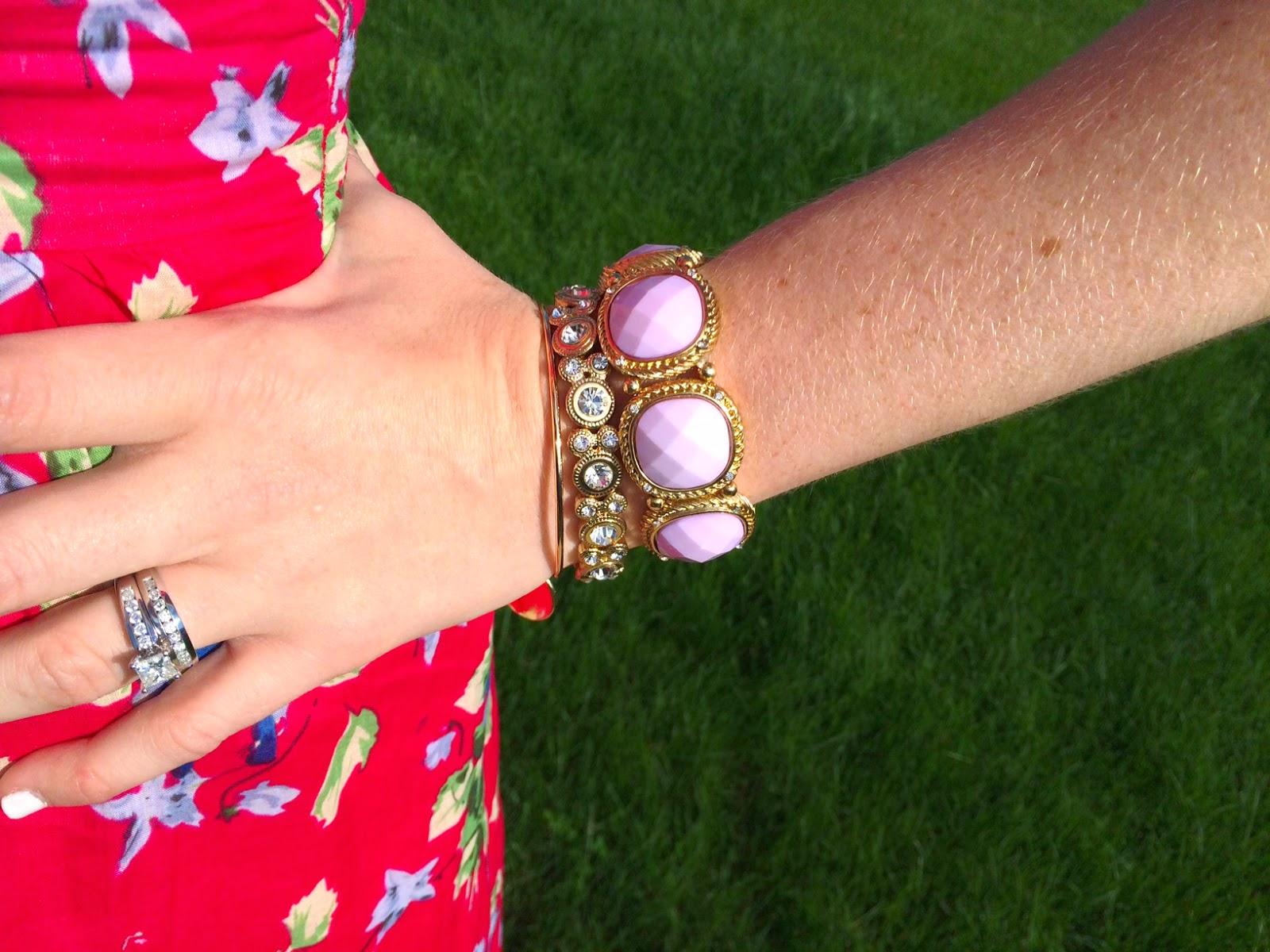 Pink Floral One Shoulder Dress and bracelets