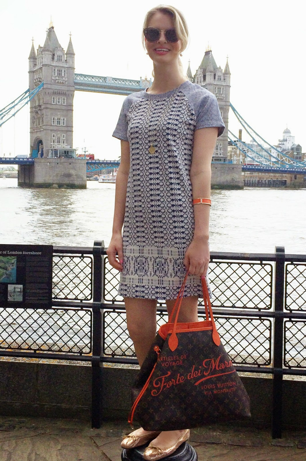 louis vuitton, neverful louis vuitton, hobb's dress, grey nw3 lois dress hobb's, tower bridge, miu miu sunglasses, h&m, h&m bracelet