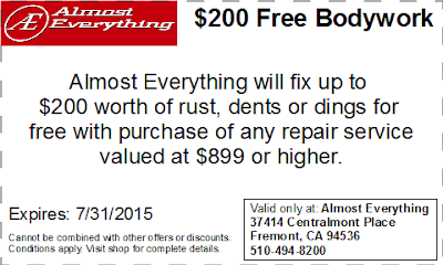 Coupon $200 Free Bodywork Discount July 2015