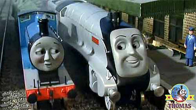 Thomas the tank engine Edward train and Spencer the big engine on the Wellsworth railway track
