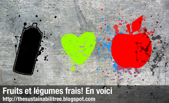 spray painted apple, concrete, colourful symbols