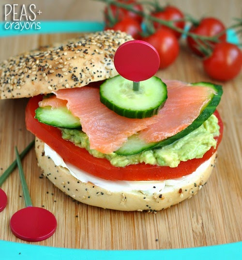 Lox everything bagel with avocado, tomato and cuke // delish!