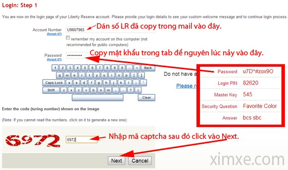 Viết số LR và mật khẩu LR vào đây.
