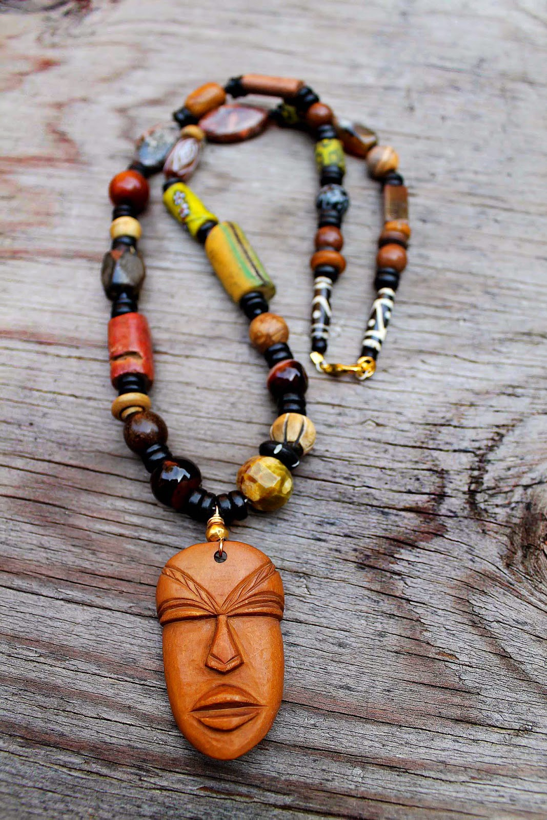 mens african bone mask pendant bead necklace