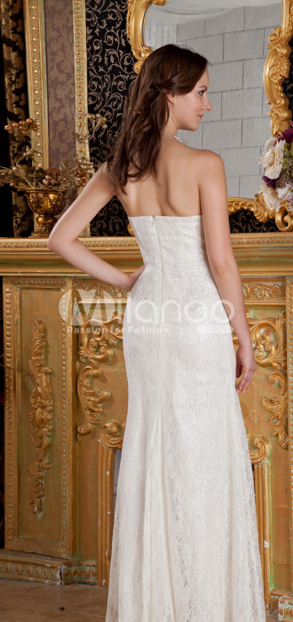 Blanc sweetheart étage robe de soirée en dentelle