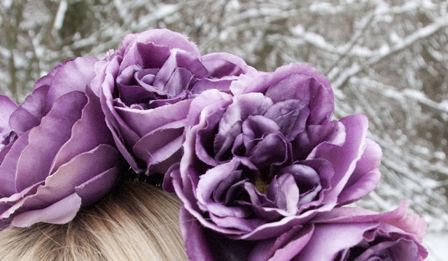 diy, flower crown, purple, silk flowers