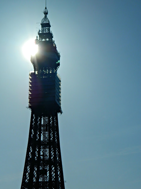 Blackpool Tower Blue Sky Sunshine Silhouette