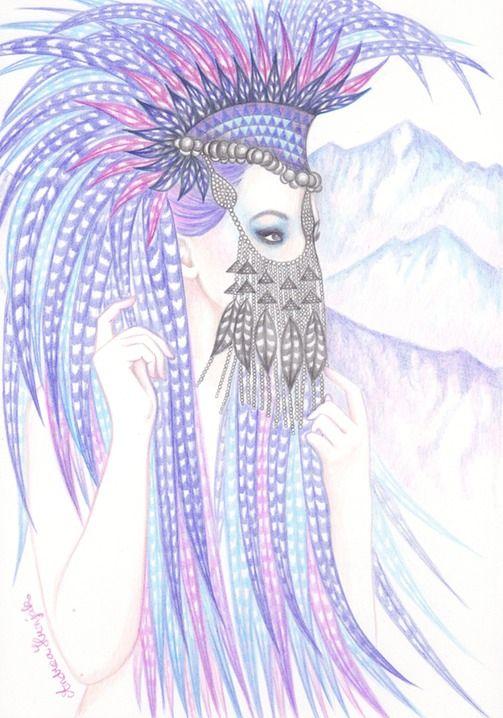 Andrea Hrnjak drawings illustrations indian women animals Alaska