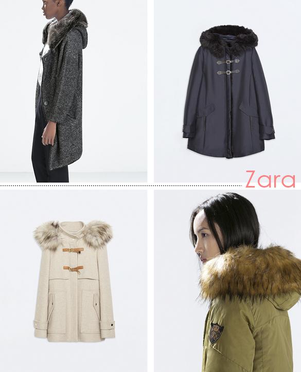 abrigo con capucha de piel