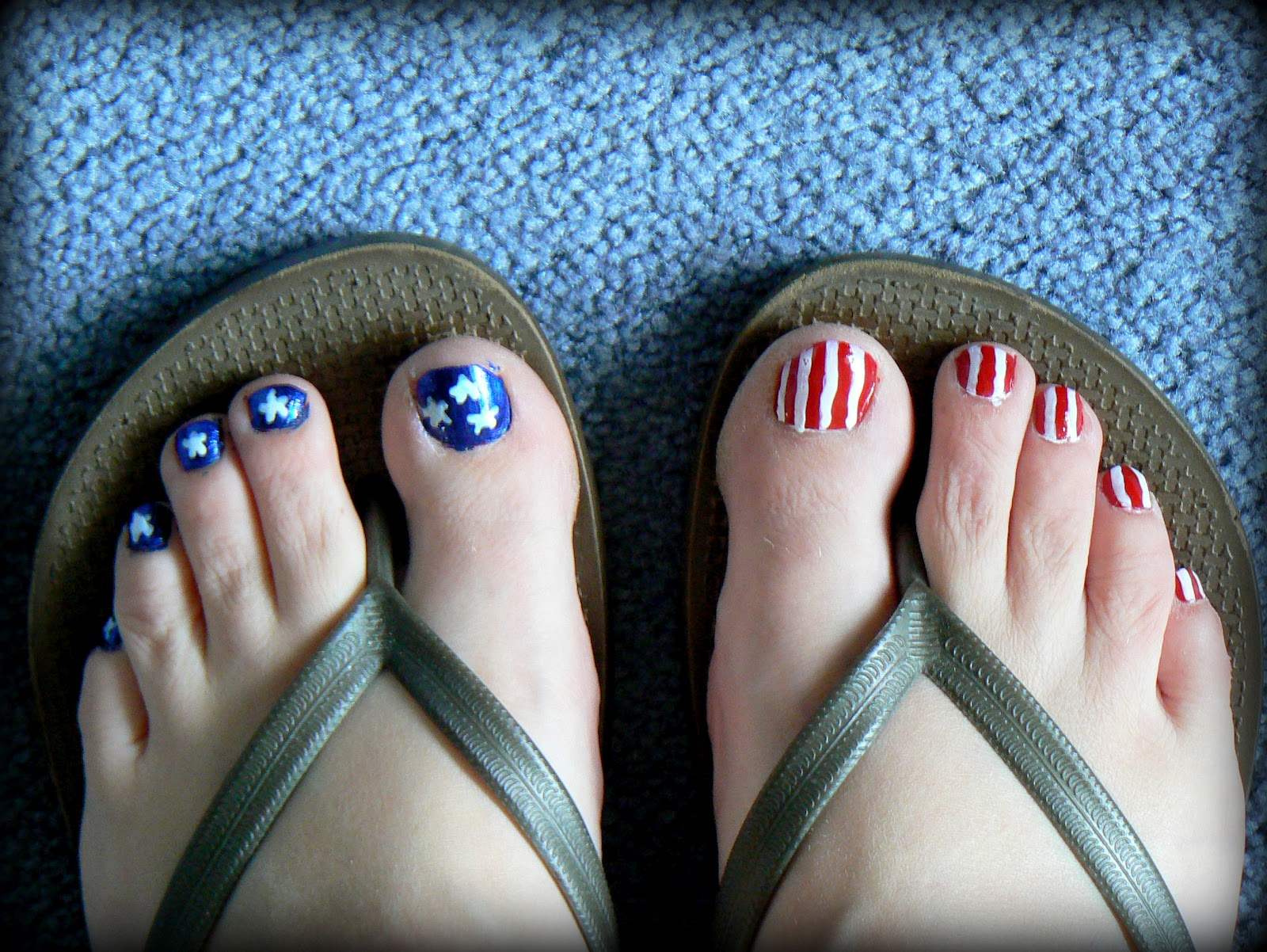 Whimsical Words Patriotic Toe Nails