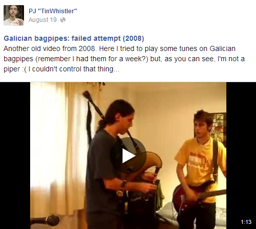 Galician bagpipes: failed attempt (2008) (video on FB)