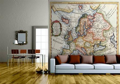 Decoraci n f cil papel pintado de mapamundis - Poner papel pared ...