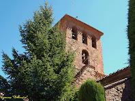 """Vista sud-oest del campanar de l'església de Santa maria de l'Estany. Autor: Francesc """"Caminaire"""""""