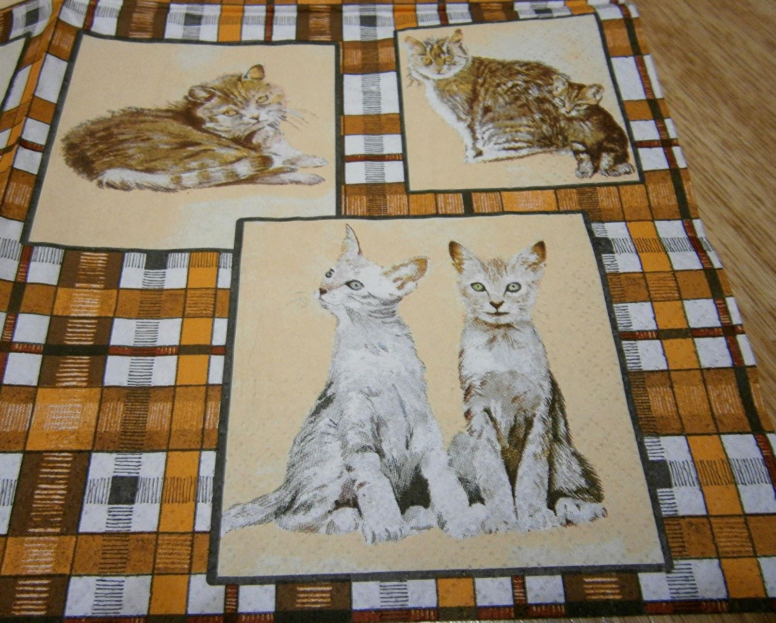 serwetki decoupage - zwierzęta - koty