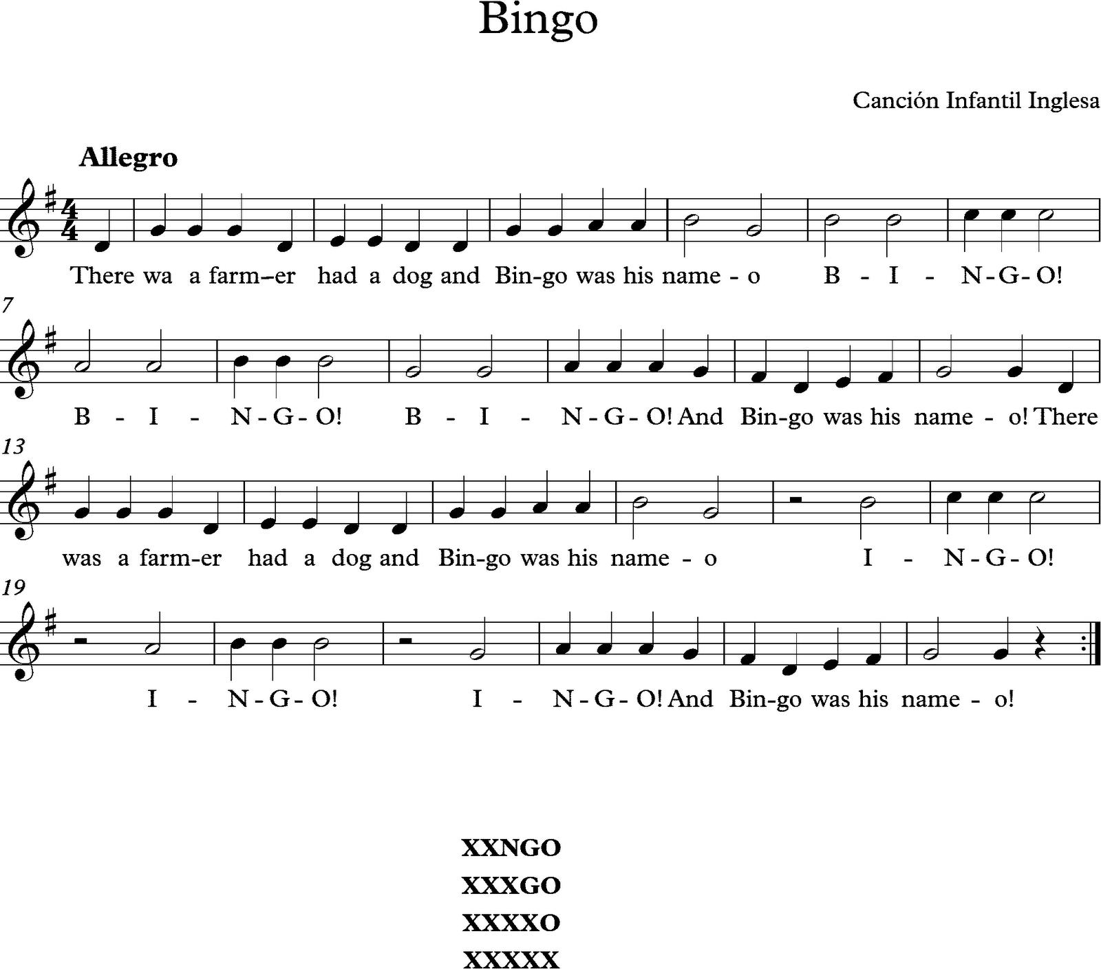 Descubriendo la m sica partituras para flauta dulce o de for Cancion en el jardin