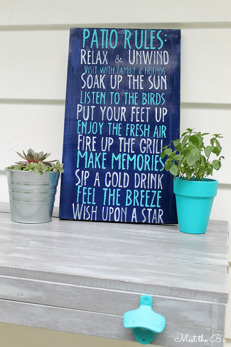 """DIY painted """"Patio Rules"""" sign   Meet the B's"""