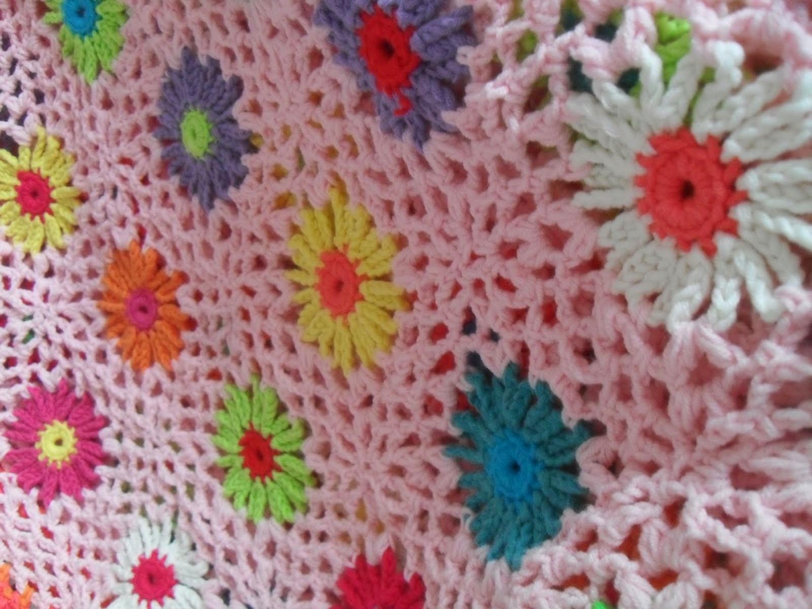 Patroon gehaakt bloemen deken