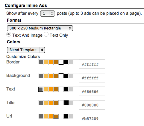 Configure inline ads