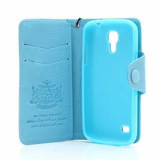 Leather Case Wallet With Credit Card Slot for Samsung Galaxy S4 Mini I9195 I9192 - Baby Blue