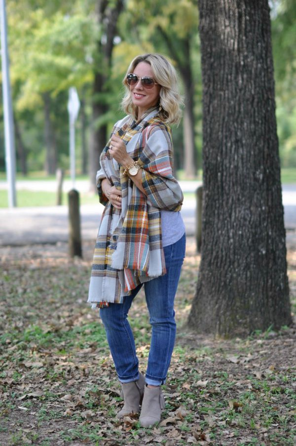 Fall fashion - the colors in that scarf! and under $25! with a tassel bootie!