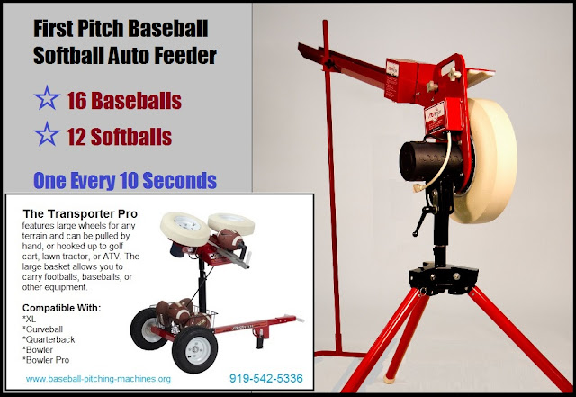 Load Up To 12 Softballs Or 16 Baseballs -- First Pitch Ball Auto Feeding Machine