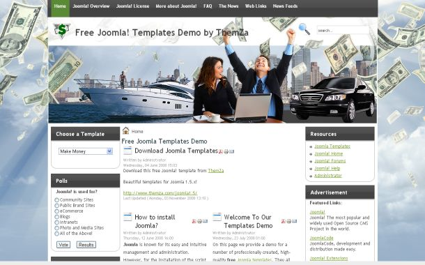 Free Business Blue Money Joomla Theme Template