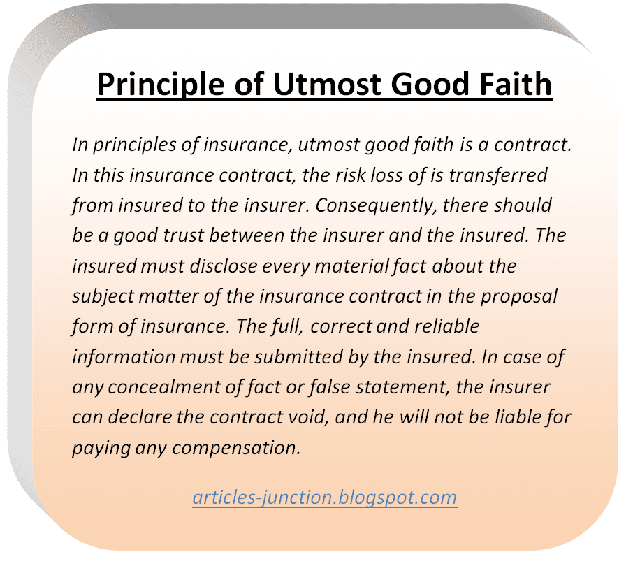 Principle of Utmost Good Faith