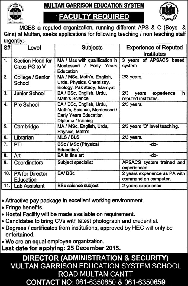 Teachers Jobs in Multan Garrison Education System