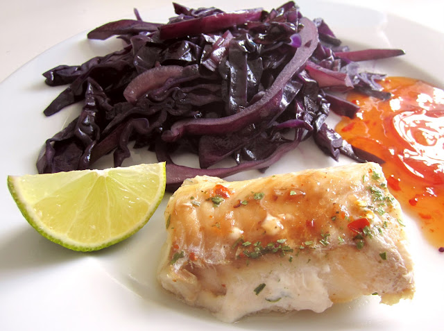 healthy lunch with fish, chili and lime