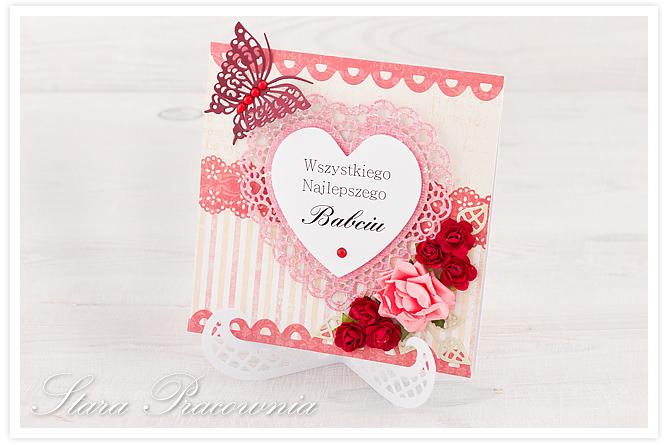 kartki ręcznie robione, kartki na chrzest, kartka ręcznie robiona, kartka na Dzień Babci, cardmaking, kartka z sercem