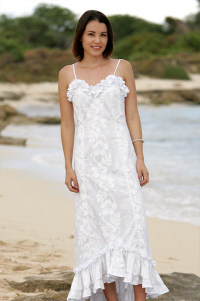 Holoku hawaiian traditional wedding dress traditional for Wedding dresses for tropical wedding