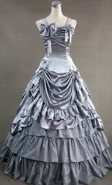 Silver Sleeveless Bow and Ruffle Gothic Victorian Dress