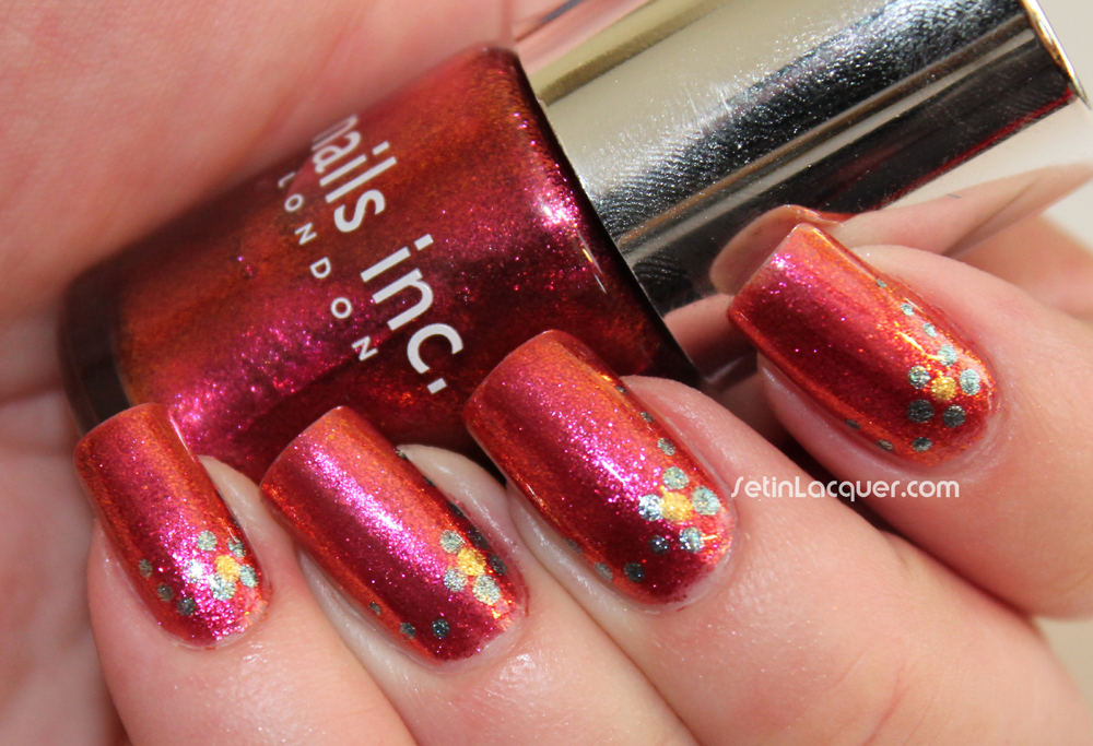 Foiled metallic polish with dotted nail art - Set in Lacquer