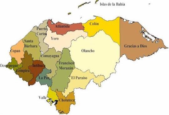 mapa de honduras con departamentos