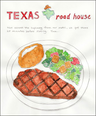 artist travel journal page dinner at texas roadhouse