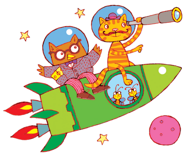Picture of Owl and Pussycat riding a space rocket