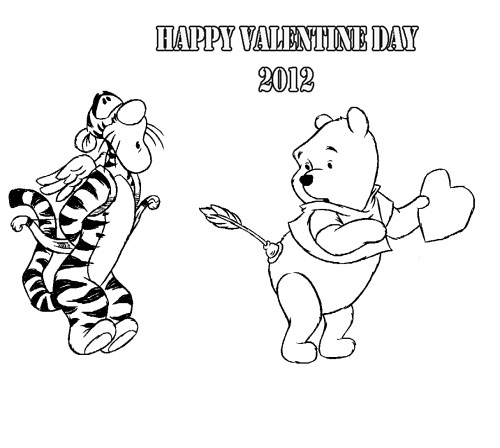 pooh valentine day coloring pages - photo#36