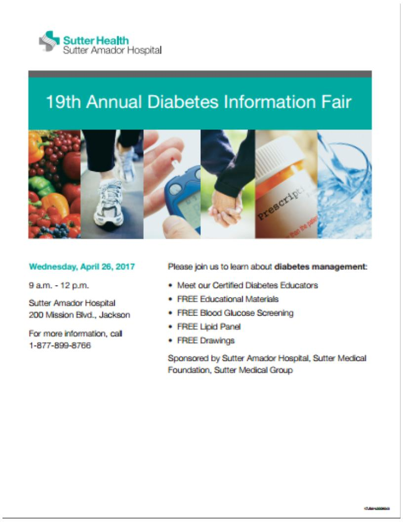 Diabetes Fair at SAH - April 26