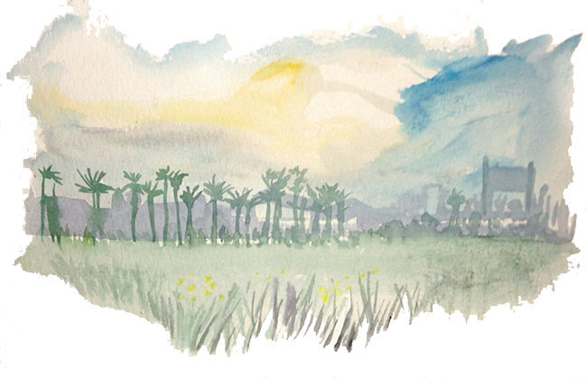 Shiho Nakaza sketching Los Angeles wild flowers watercolor