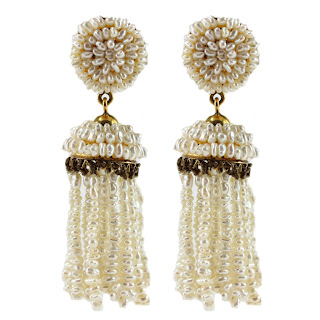 Vintage 1940's freshwater pearl dangling tassel earrings.