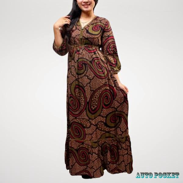 model-baju-batik-long-dress-1