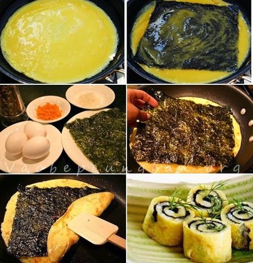 Cách làm trứng cuộn rong biển ăn không ngán 1