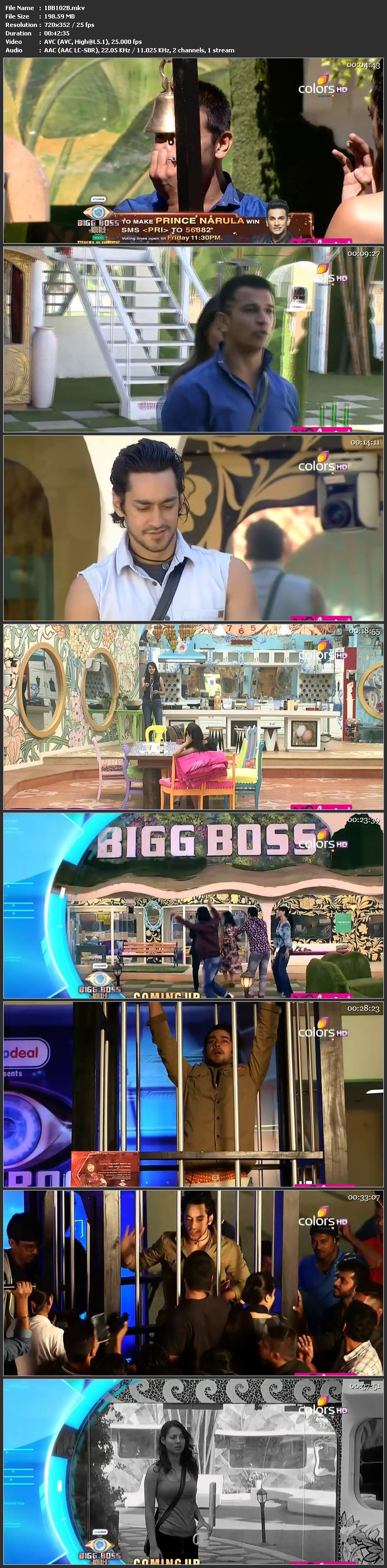 Screenshots Of Hindi Show Bigg Boss 9 2016 21st January Episode 102 200MB 480P HD