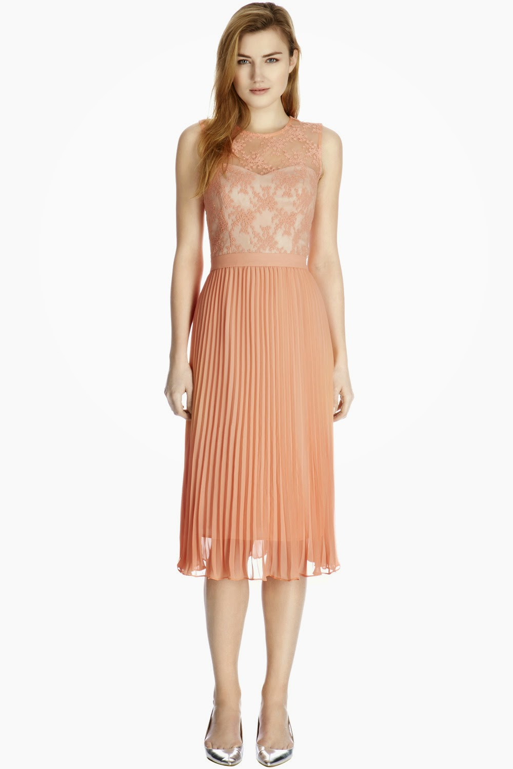 pleated nude dress