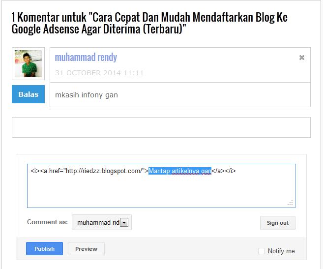 cara membuat link hidup pada komentar blog