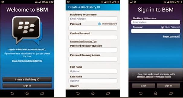 Tampilan Aplikasi BBM Untuk HP Android