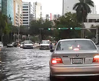 Driving through Miami at high tide