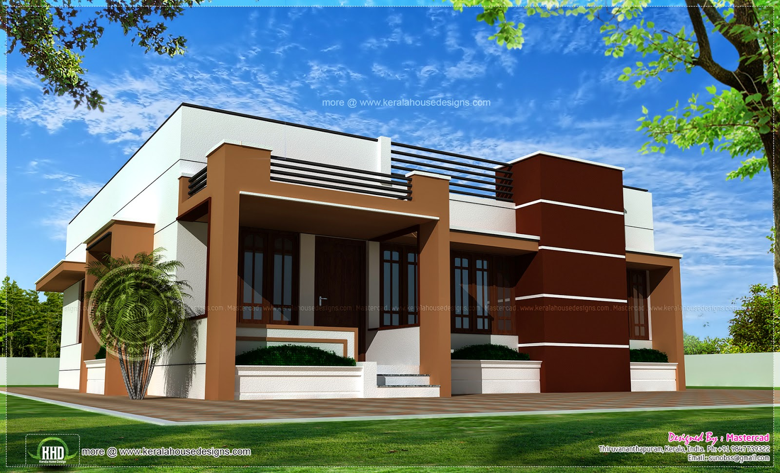 Single storied contemporary house kerala home design and for Modern house design single floor