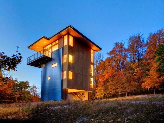 rumah vertikal 4 lantai sempit dan tinggi rancangan
