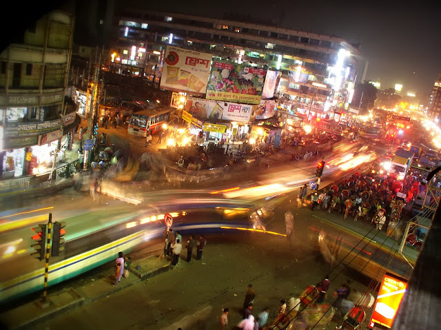A night view of the dhaka city bangladesh
